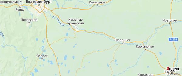 Карта Катайского района Курганской области с городами и населенными пунктами