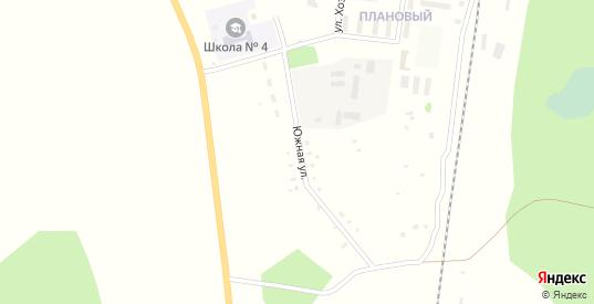 Южная улица в поселке Плановый в Щучьем с номерами домов на карте. Спутник и схема онлайн