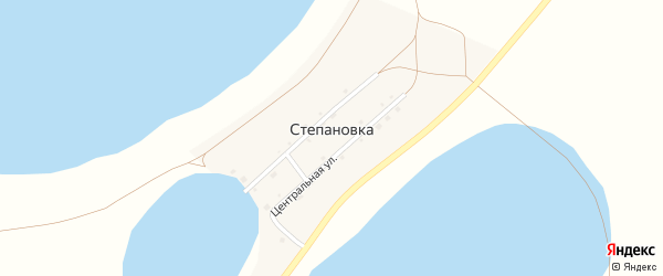 Центральная улица на карте деревни Степановки с номерами домов