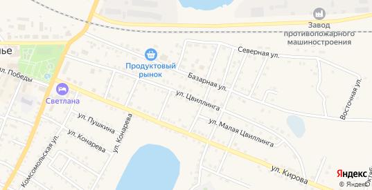 Улица Цвиллинга в Щучьем с номерами домов на карте. Спутник и схема онлайн