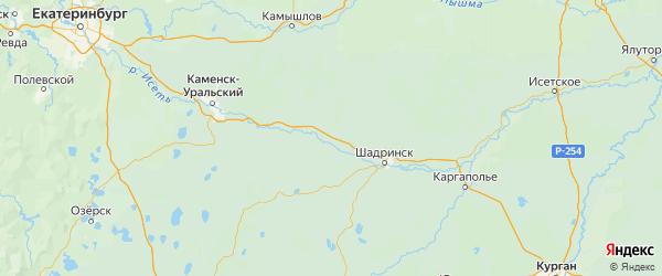 Карта Далматовского района Курганской области с городами и населенными пунктами