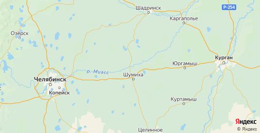 Карта Шумихинского района Курганской области с городами и населенными пунктами