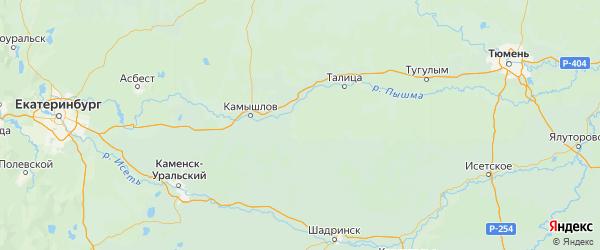 Карта Пышминского района Свердловской области с городами и населенными пунктами