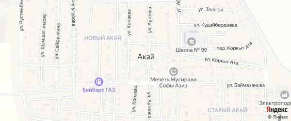 Улица Токтаралиева на карте поселка Акая с номерами домов