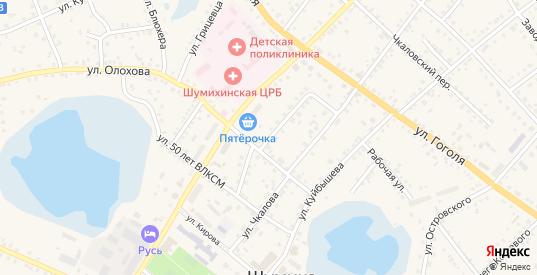 Улица Коммуны в Шумихе с номерами домов на карте. Спутник и схема онлайн