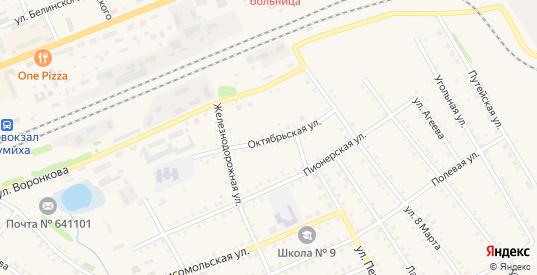 Октябрьская улица в Шумихе с номерами домов на карте. Спутник и схема онлайн