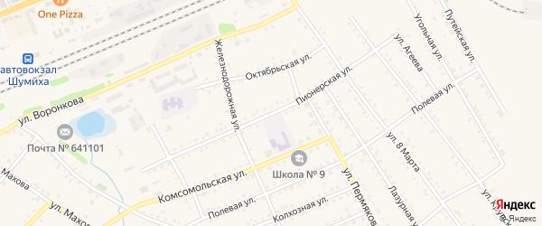 Пионерская улица на карте Шумихи с номерами домов