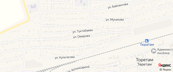 Улица Омарова на карте поселка Тюры-Тама с номерами домов