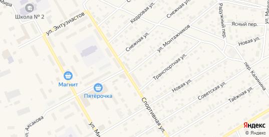 Улица Монтажников в Югорске с номерами домов на карте. Спутник и схема онлайн