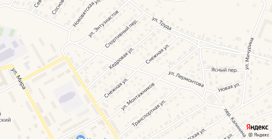 Снежная улица в Югорске с номерами домов на карте. Спутник и схема онлайн