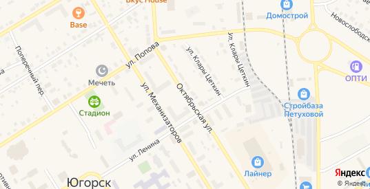 Октябрьская улица в Югорске с номерами домов на карте. Спутник и схема онлайн