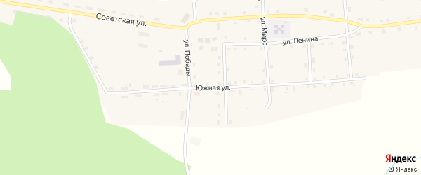 Южная улица на карте Вновь-Юрмытское села Свердловской области с номерами домов
