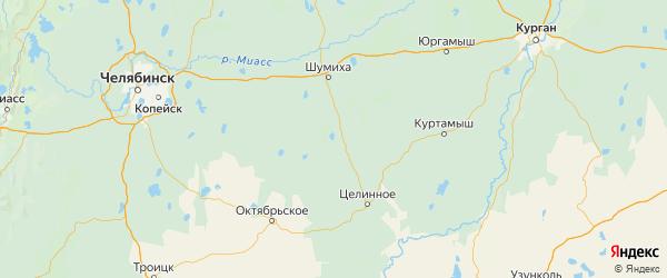 Карта Альменевского района Курганской области с городами и населенными пунктами