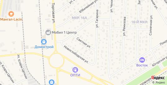Светлая улица в Югорске с номерами домов на карте. Спутник и схема онлайн