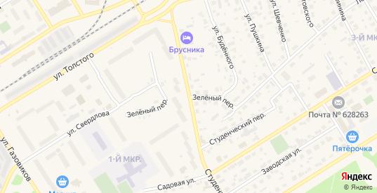 Зеленый переулок в Югорске с номерами домов на карте. Спутник и схема онлайн