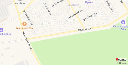 Южная улица в Югорске с номерами домов на карте. Спутник и схема онлайн