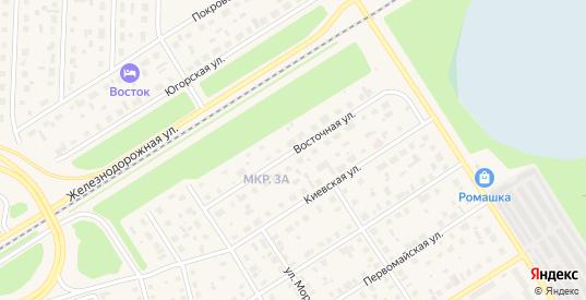 Восточная улица в Югорске с номерами домов на карте. Спутник и схема онлайн