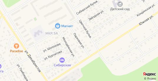 Парковая улица в Югорске с номерами домов на карте. Спутник и схема онлайн