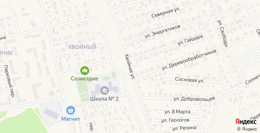 Хвойная улица в Советском с номерами домов на карте. Спутник и схема онлайн