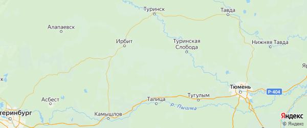 Карта Байкаловского района Свердловской области с городами и населенными пунктами