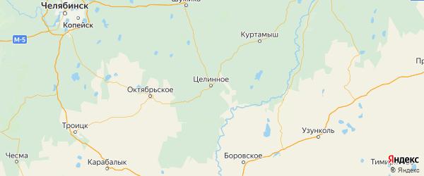 Карта Целинного района Курганской области с городами и населенными пунктами