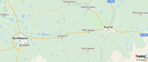 Карта Мишкинского района Курганской области с городами и населенными пунктами