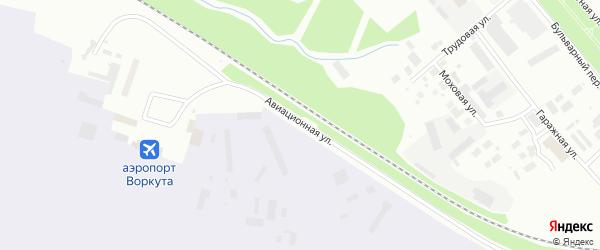 Авиационная улица на карте Воркуты с номерами домов