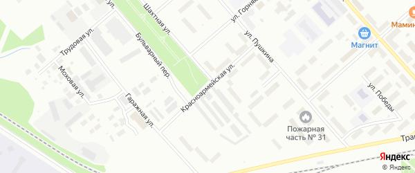 Красноармейская улица на карте Воркуты с номерами домов