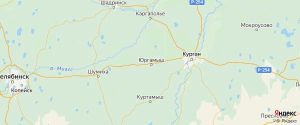Карта Юргамышского района Курганской области с городами и населенными пунктами