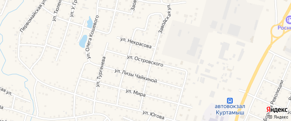 Улица Н.Островского на карте Куртамыша с номерами домов