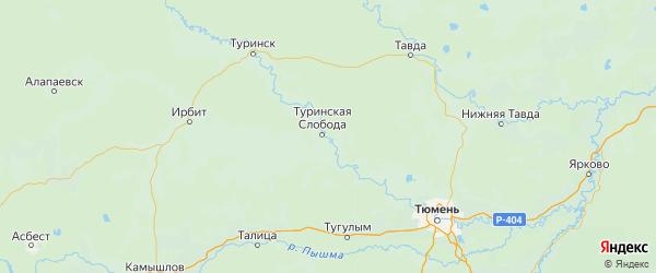 Карта Слободо-туринского района Свердловской области с городами и населенными пунктами