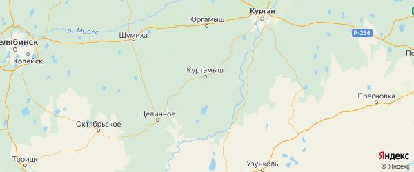 Карта Куртамышского района Курганской области с городами и населенными пунктами