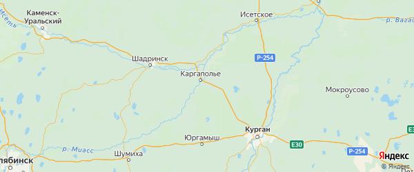 Карта Каргапольского района Курганской области с городами и населенными пунктами