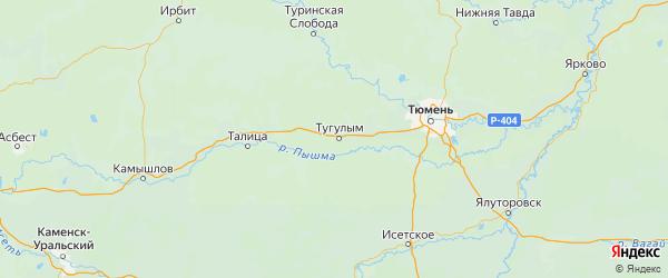 Карта Тугулымского района Свердловской области с городами и населенными пунктами