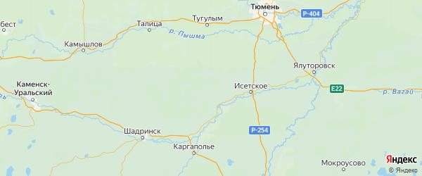 Карта Шатровского района Курганской области с городами и населенными пунктами