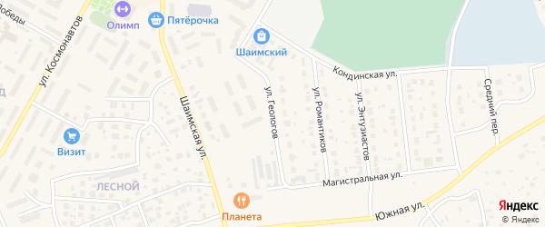 Улица Геологов на карте Урая с номерами домов