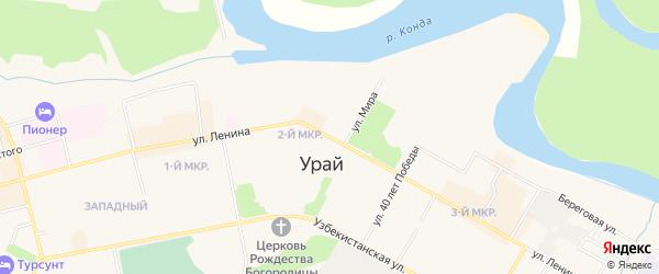 Карта территории Промзоны города Урая в Ханты-Мансийском автономном округе с улицами и номерами домов