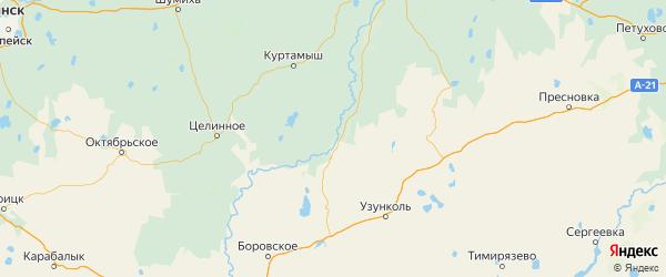 Карта Звериноголовского района Курганской области с городами и населенными пунктами