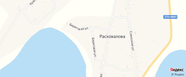 Береговая улица на карте села Чаши Курганской области с номерами домов
