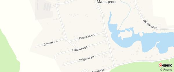Полевая улица на карте села Мальцево Свердловской области с номерами домов
