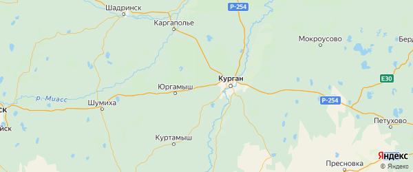 Карта Кетовского района Курганской области с городами и населенными пунктами
