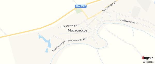 Карта Мостовского села в Курганской области с улицами и номерами домов