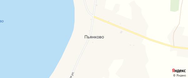 Береговая улица на карте села Пьянково Курганской области с номерами домов