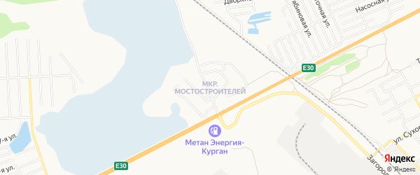 Карта микрорайона Мостостроителей города Кургана в Курганской области с улицами и номерами домов