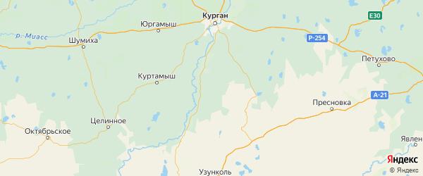 Карта Притобольного района Курганской области с городами и населенными пунктами
