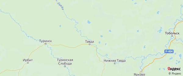 Карта Тавдинского района Свердловской области с городами и населенными пунктами