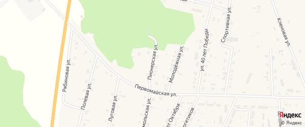 Пионерская улица на карте села Шорохово Тюменской области с номерами домов