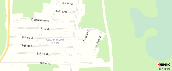 13-й проезд на карте территории А/д г. Нягани-П. Унъюган, садового массива 13 с номерами домов