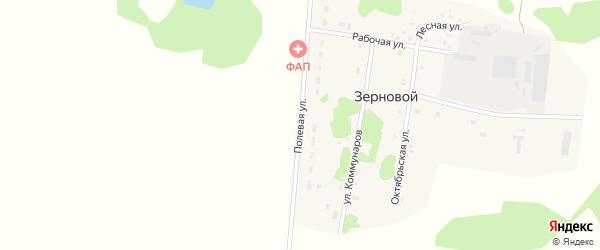 Полевая улица на карте Зернового поселка Тюменской области с номерами домов