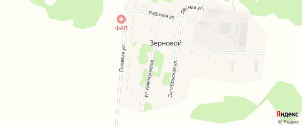 Улица Коммунаров на карте Зернового поселка Тюменской области с номерами домов